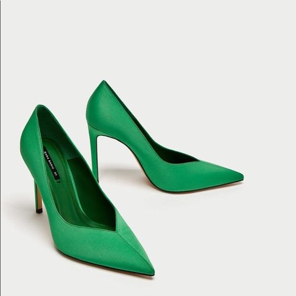 NEW Zara Green V Vamp High Heel Shoes Size 37